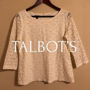 Talbots White Lace Blouse with 3/4 Sleeves